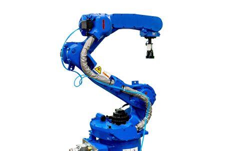 Blue robotic arm isolated on white background. Stock Photo