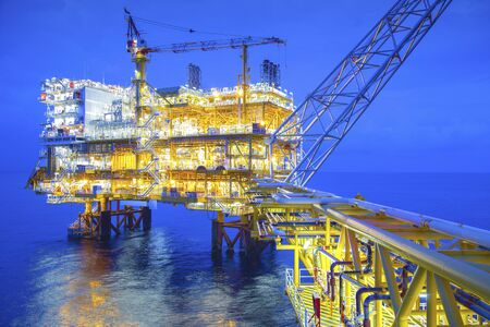 Large offshore drilling oil rig plant in the gulf