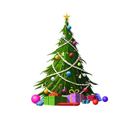 tree isolated: Christmas tree isolated on white background