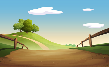 Illustration of an outdoor to have hill trees