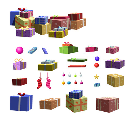 x mas parties: Gifts,ball for set up a Christmas tree Stock Photo