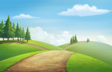 grasslands: Illustration of an outdoor to have hill trees