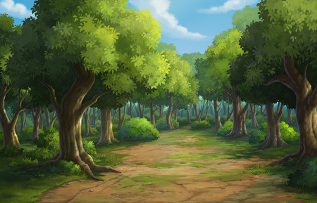 Illustratie van een outdoor in de jungle en natuurlijke
