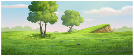 gloaming: Illustration of garden have a mound and trees Stock Photo