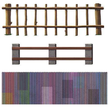 illustratie houten hek op een witte achtergrond