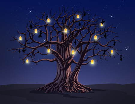 night time: illustration of a tree at  night time Stock Photo