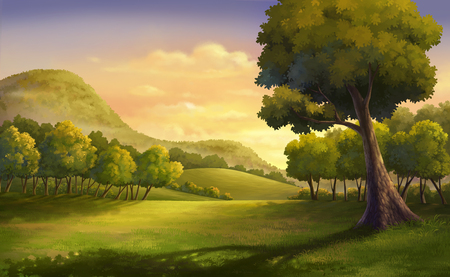gloaming: Illustration of an outdoor and meadow at the hill
