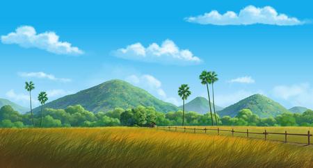 painting Illustration mountainin and cornfield