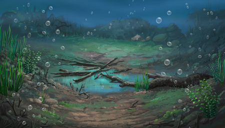 mire: Illustration of an underwater view Stock Photo