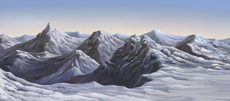 Paint illustrations of large mountains in winter.