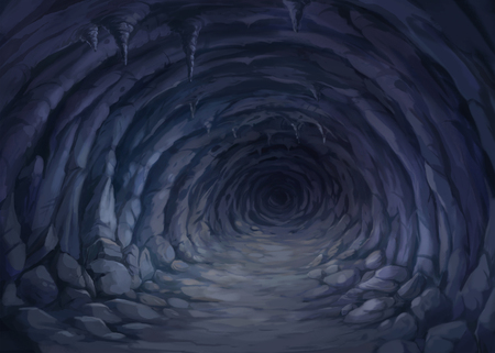 illustration inside of the cave has a dark atmosphere.
