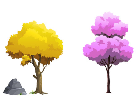 Illustration of trees bright colors.
