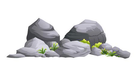 Illustrazione di pietra nera isolata da sfondo bianco. Vettoriali