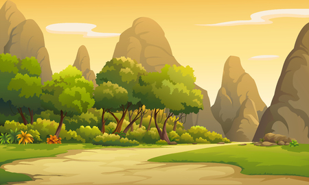 Illustration of trees and mountains in the evening atmosphere. Ilustrace