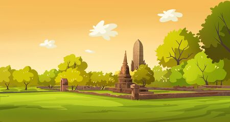 Illustration of the old city of Thailand in the evening Banco de Imagens