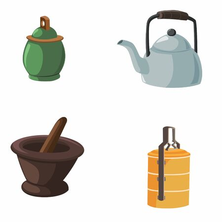 Vector illustration of items in the house with a dark background Ilustração