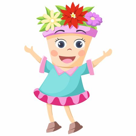 The cartoon character of the flower pot is very beautiful. Ilustração