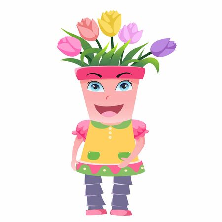 The cartoon character of the flower pot is very beautiful. 向量圖像