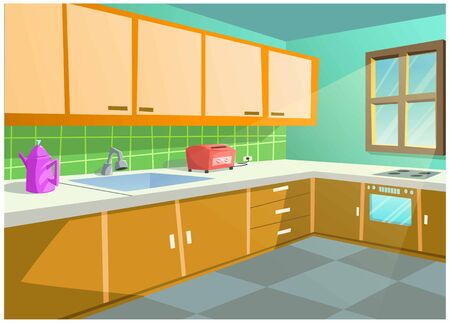 The cartoon image of the kitchen in the house is very beautiful.