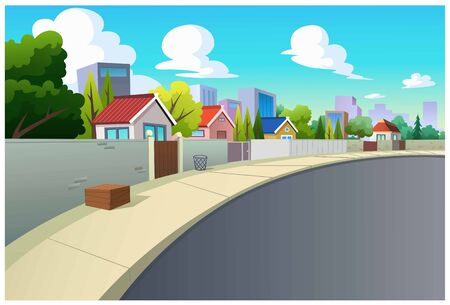 Vector illustration of villages and roads in the daytime is very beautiful. Ilustração