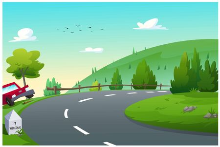 Road, Travel, There are mountains far away. Ilustração