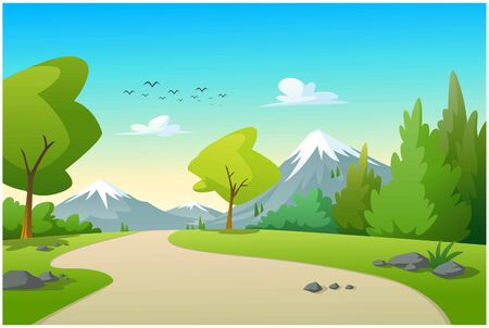 On the natural path, there are trees and mountains. Ilustração