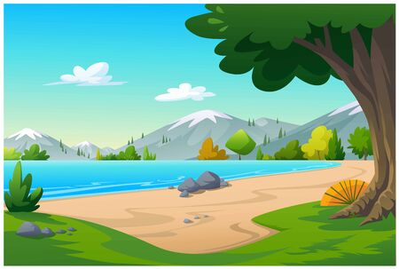 Vector illustration of the seaside in the morning time is very beautiful.
