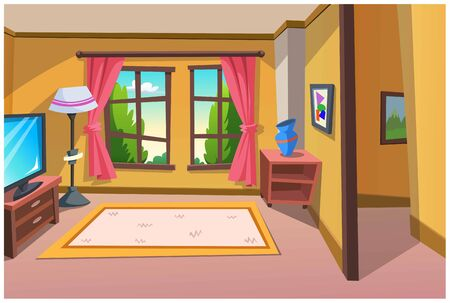 Cartoon image of a room for relaxing in a bright colored house.