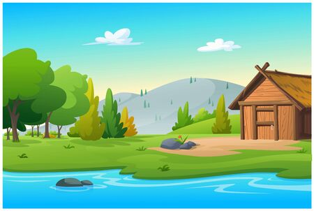 Illustration is a vector of a hut near the stream.
