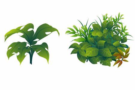 illustration shrub for cartoon isolated on white background. Vektorové ilustrace