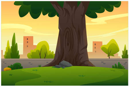 Vector illustration of a garden with a big tree in the evening atmosphere.
