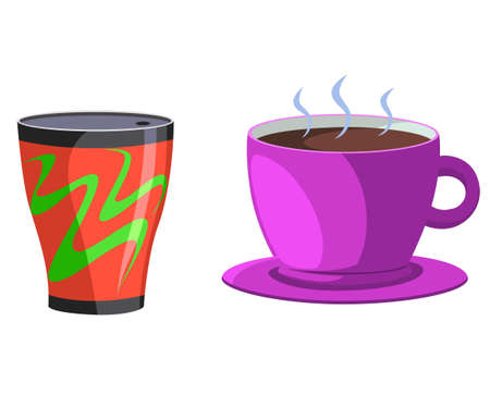 Vector illustration of a glass and having a hot drink.