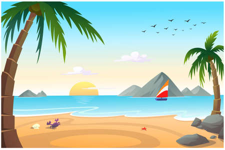 By the sea, there is a sandy beach with coconut trees, a bright morning atmosphere. Ilustrace