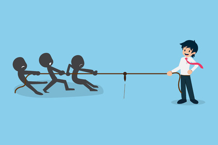 Salary Man 01 Business Competition like Tug of War.If you have a good business plan. No one can do anything for us. Иллюстрация