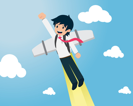 Salary Man 01 are Flying fast with Jet packIf you have a good business plan. You will be able to go faster than anyone else. Illustration