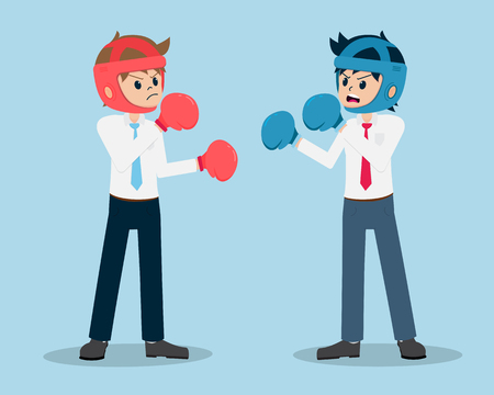 Salary Man 01 Are Punching Boxers withCompetitors. Business It's like Fighting with a Competitor.