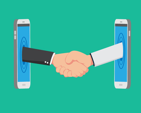 Flat Shaking Hands From Smart Phone like Online Business