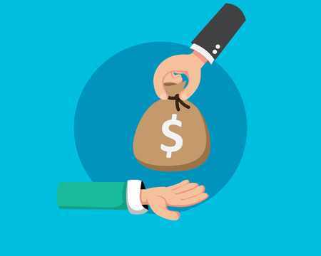 Dar dinero para invertir con la mano de inicio. Ilustración de vector