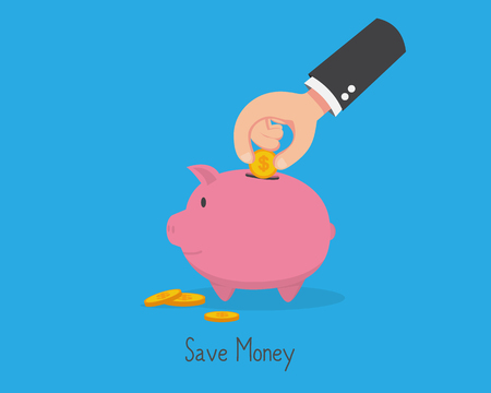 Save Money Put Coin in Piggy Bank Иллюстрация