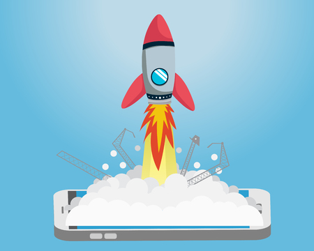 Startup Flat Rocket Go up From Smart Phone Иллюстрация