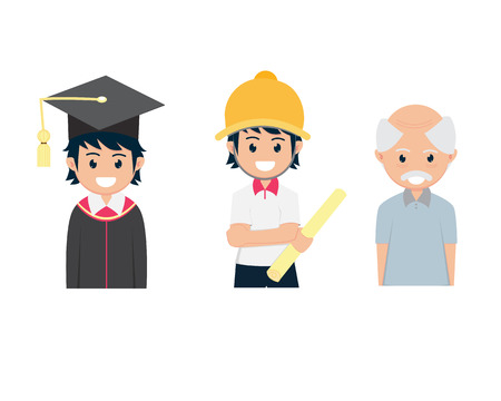 Three Flat Cartoon Graduated from College Engineering work And Old Man Иллюстрация