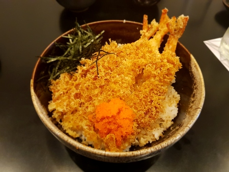 Japanese Food Shrimp Tempura on Rice