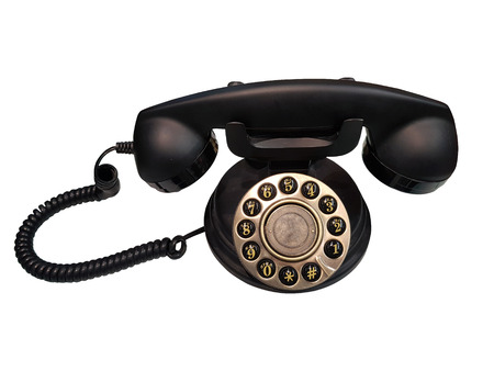 Old Vintage Phone on white background and Clipping path.