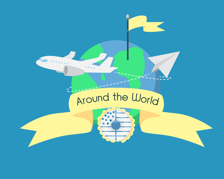 Around the World Peper Plane Yellow Ribbon flag