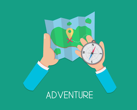 Adventure. Flat Hand Holding Map And Compass Иллюстрация