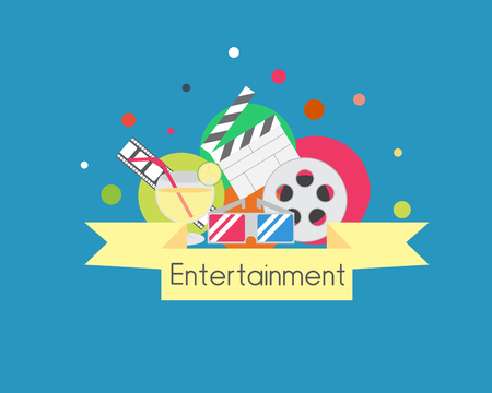 Entertainment Icon Group. Movie Drink 3D Glasses Иллюстрация