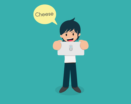 Man Holding Smart Phone And Take a photo. Say Cheese. Illustration