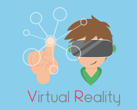Flat Boy are Playing Virtual Reality.New technology that takes you into the limitless world.