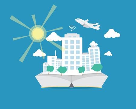 Smart City On Flat  Book. Sunshine from the sun and plane flying on the sky.