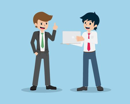 Salary Man are Presenting to the Friendly Boss.And Get advice from the His Boss.